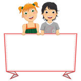 Vector Illustration Of Cute Children Holding Red F. Rame Banner Stock Photography