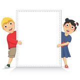 Vector Illustration Of Cute Children Holding White. Banner Royalty Free Stock Photography