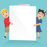Vector Illustration Of Cute Children Holding White. Banner Royalty Free Stock Photo