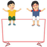 Vector Illustration Of Cute Children Sitting On Re Stock Photo