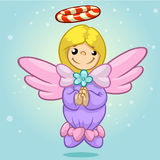 Vector illustration cute Christmas flying angel character with candy nimbus. Greeting card Stock Photo