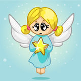 Vector illustration cute Christmas flying angel character. Greeting card Stock Photos