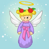 Vector illustration cute Christmas flying angel character. Greeting card Stock Photography