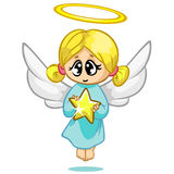 Vector illustration cute Christmas flying angel character. Greeting card Royalty Free Stock Photos