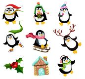 Vector illustration with a cute christmas penguins stock images