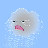 Vector illustration of a cute crying cloud. royalty free stock images