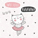 Ballerina cat. Vector illustration of a cute dancing ballerina cat, greeting card template Stock Image