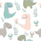 Vector illustration.cute dinosaur drawn as vector for kids fashion royalty free illustration