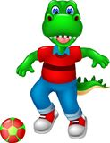 Cute dinosour cartoon playing football with smile and waving Stock Photos