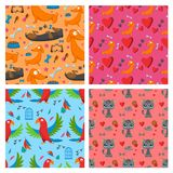 Playing dog cat parrot character funny purebred puppy comic happy mammal breed animal character seamless pattern. Vector illustration cute dog cat parrot vector illustration