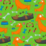 Playing dog character funny purebred puppy comic happy mammal breed animal character seamless pattern background vector. Vector illustration cute dog character royalty free illustration
