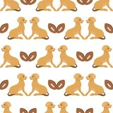 Playing dog character funny purebred puppy comic happy mammal breed animal character seamless pattern background vector. Vector illustration cute dog character vector illustration