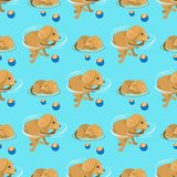 Playing dog character funny purebred puppy comic happy mammal breed animal character seamless pattern background vector. Vector illustration cute dog character stock illustration