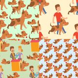 Vector illustration cute dogs and people characters seamless pattern purebred puppy comic smile happy mammal breed. Vector illustration cute dogs and people stock illustration