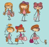 Cute doodle fashion girls with stylish bags Stock Image