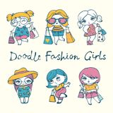Fashion shopping girls with stylish bags. Vector illustration with cute doodle fashion shopping girls with stylish bags Royalty Free Stock Photos