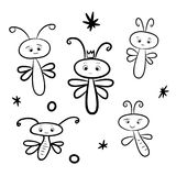 Vector illustration of cute dragonflies. A cartoon vector illustration of cute dragonflies. Coloring page Stock Images