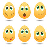 Vector illustration of cute eggs with expressions Stock Images