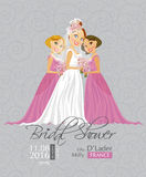Vector illustration of cute elegant bride with Bridesmaid holding flowers. Stock Image
