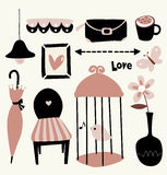 Vector Illustration of cute elements. Beauty and fashion girl set royalty free illustration