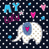 Vector illustration with cute elephant Royalty Free Stock Photography