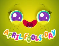 April fools` day. Vector illustration of cute face for april fools day. Kawaii face with eyes and freckles. April fools` day Stock Photo