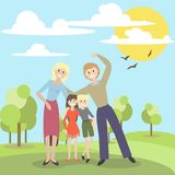 Vector illustration of a cute family on vacation in the Park. Vector illustration of a cute family on Park Royalty Free Stock Photo