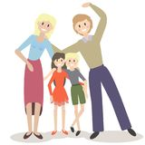 Vector illustration of a cute family. On white Royalty Free Stock Image