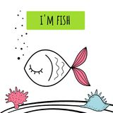 Vector illustration of cute fish . Baby print. Cartoon background. Vector illustration of cute fish . Baby print Royalty Free Stock Image