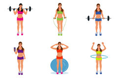 Vector illustration of cute fitness girl Royalty Free Stock Photos