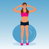 Vector illustration of cute fitness girl with stability ball Royalty Free Stock Images