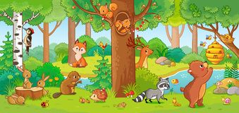 Vector illustration with cute forest animals. Vector illustration with cute forest animals in a children`s style. A set of mammals in the forest. Collection in Stock Image