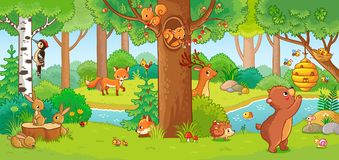 Vector illustration with cute forest animals in a children`s style. Royalty Free Stock Photography