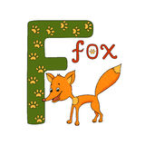 Vector illustration of cute fox and letter of the alphabet F. Funny hand drawn cartoon characters Royalty Free Stock Photography
