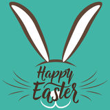 Vector illustration of cute fun happy easter greeting with easter bunny Stock Photos