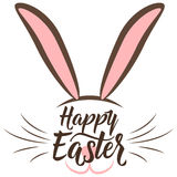 Vector illustration of cute fun happy easter greeting with easter bunny Stock Photo