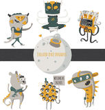 Vector illustration with cute an funky space invaders, with little planet. Set of aliens  on white background, standing an. D walking humor characters like Stock Photo