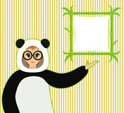 Vector illustration of cute girl in panda suit and bamboo textboard Stock Photography