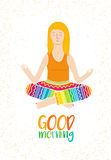 Vector illustration of a cute Girl Practicing Yoga. lotus meditative pose. Template for design cards, notebook. stock illustration
