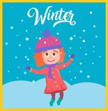 Vector illustration of cute girl snowball vector illustration