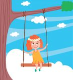 Vector illustration of cute girl swinging on a swing royalty free illustration