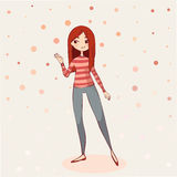 Vector Illustration of a Cute Girl on Tan Background Stock Photos
