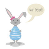 Vector illustration of Cute Grey Easter Bunny Stock Photography
