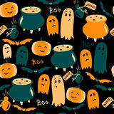 Cute Halloween background with ghosts, pumpkins and poison. Vector illustration. vector illustration