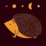 Vector illustration of cute hand drawn hedgehog. stock illustration