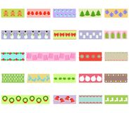 Vector illustration of cute hand drawn masking tape with Christm. As winter snowflake theme Washi tape holiday set on fabric strip, with object patterns as Stock Photography