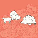 Vector Illustration Cute Hand Drawn Sheep Royalty Free Stock Photo