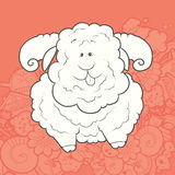 Vector Illustration Cute Hand Drawn Sheep Stock Photo