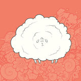 Vector Illustration Cute Hand Drawn Sheep Stock Images