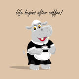 Vector illustration with a cute hippo waiter holding a cup of coffee. Life begins after coffee lettering. Royalty Free Stock Photography